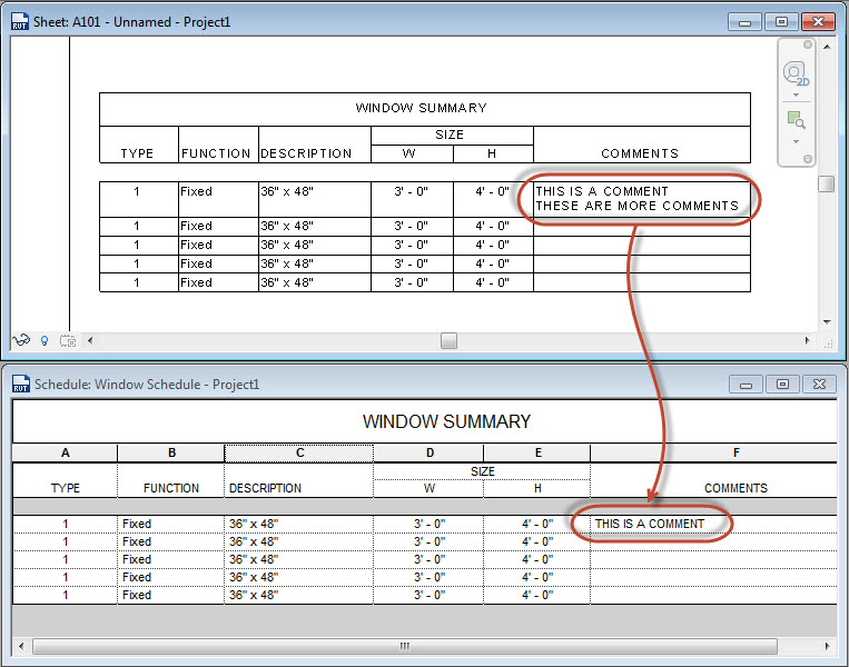 Revit Oped Two Lines In Schedules
