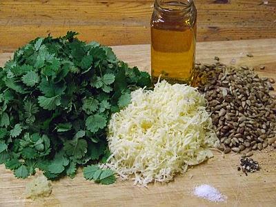 ingredients for salad burnet pesto