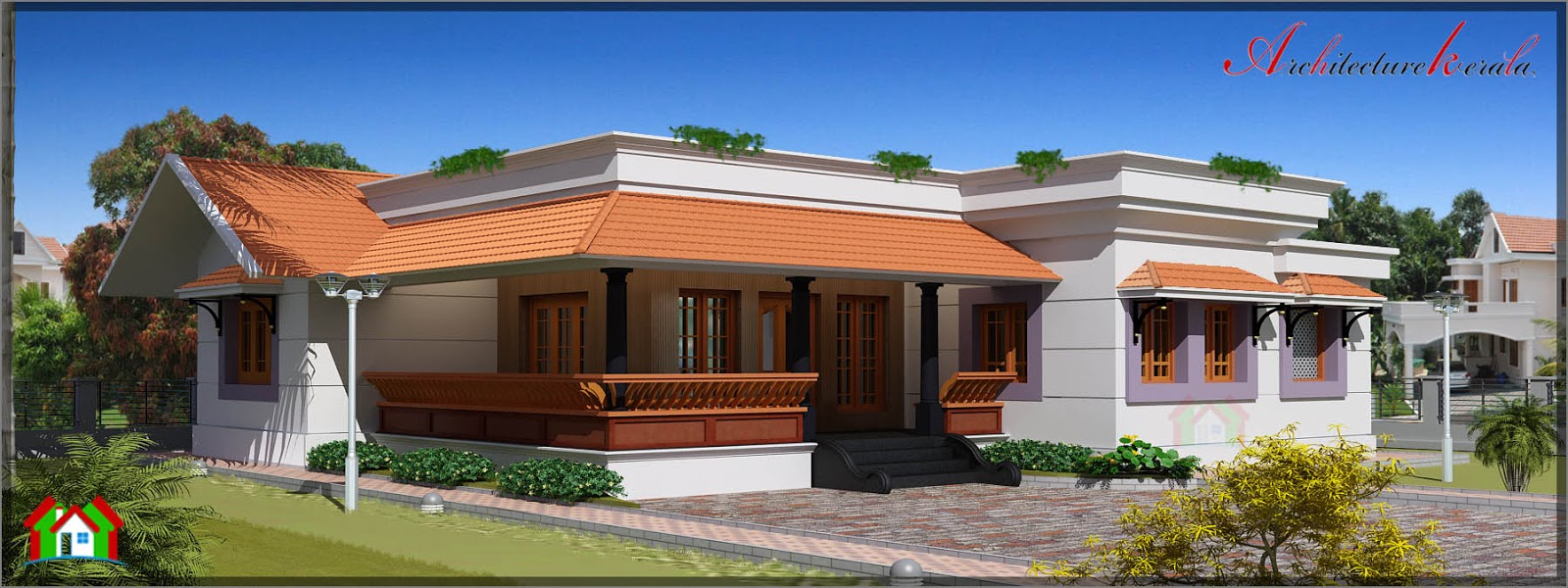 Single storied house with nadumuttam and nalukettu style for Single storey nalukettu house plans