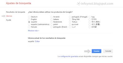 Ajustes de búsqueda de Google: idiomas