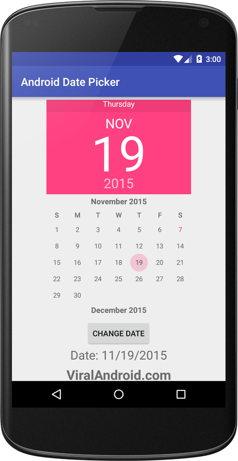 Android Date Picker Example