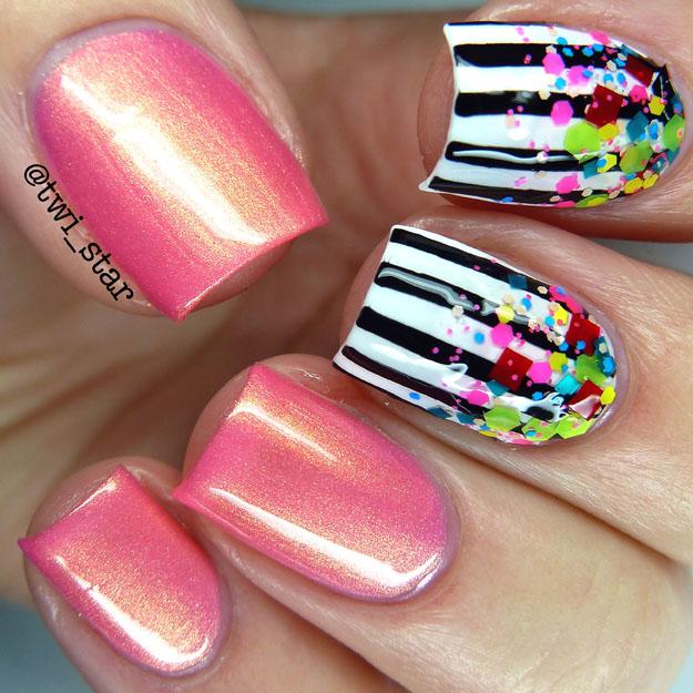 Beetlejuice inspired nail art Gridlock Lacquer Yinz Going Dahntahn pink orange duochrome