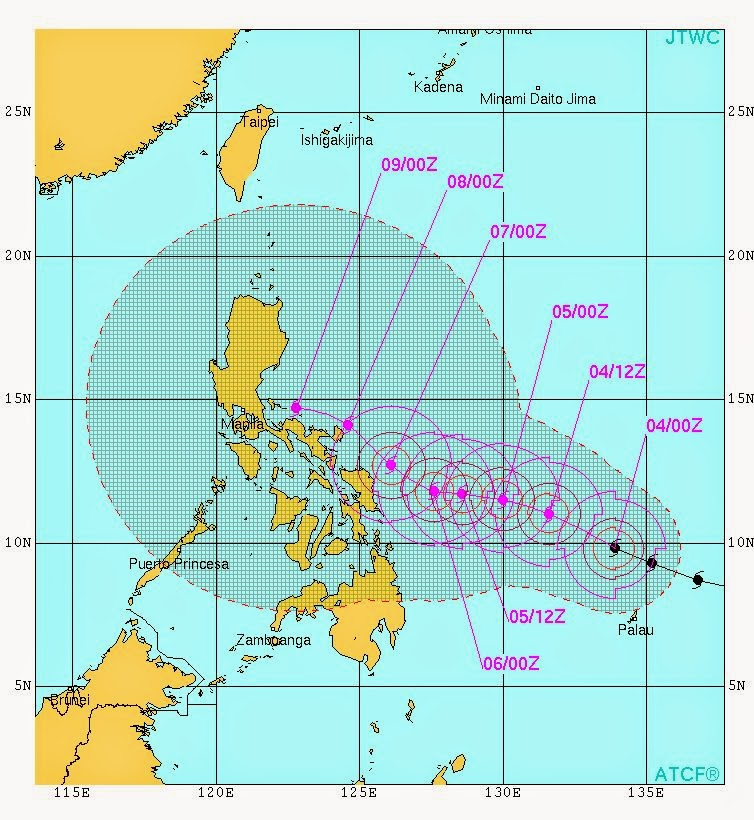 satellite image (0930 hrs, GMT, December 3, 2014) of Typhoon Hagupit
