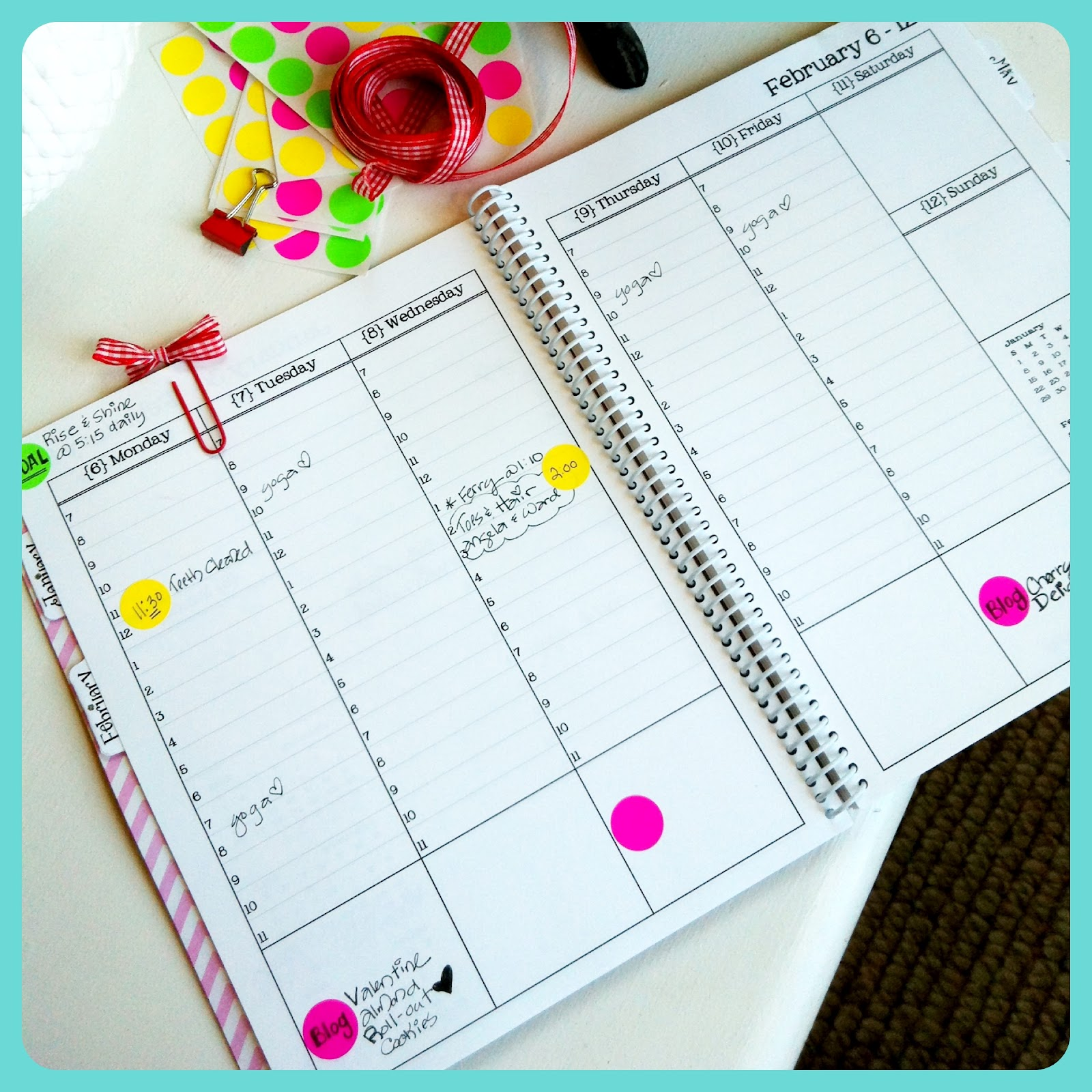 Blooming on bainbridge color coding my new day planner for Color coding planner