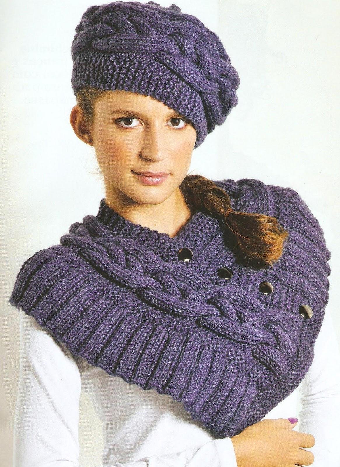 Шапочка объемными косами burberry вязание на спицах 4 фотография