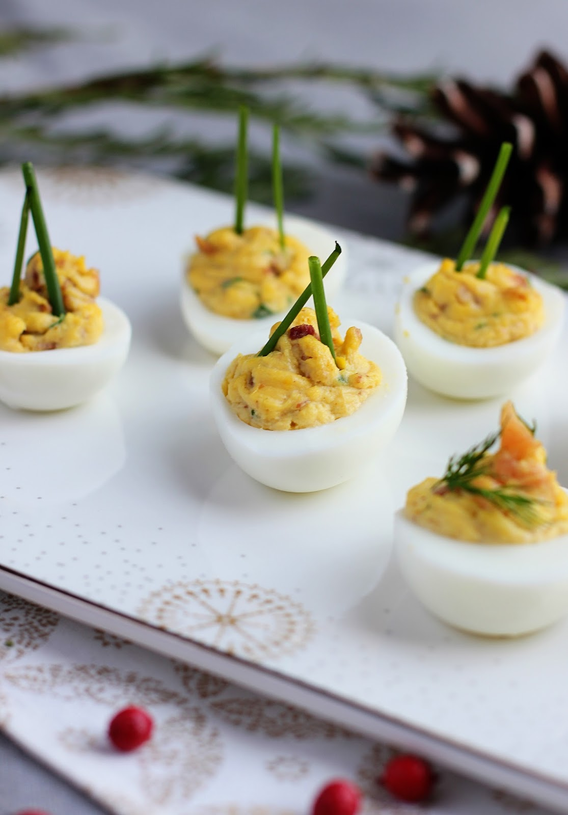 Bacon Chive Truffle Deviled Eggs