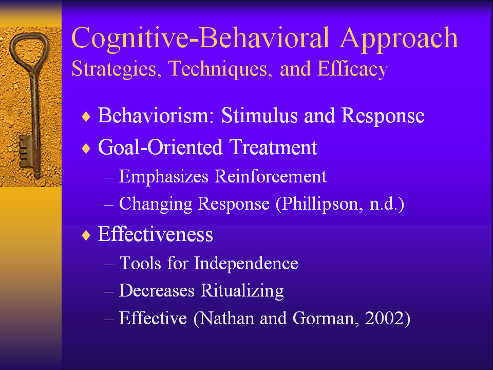 cognitive behavioral intervention approach The cognitive‐behavioral interventions for suggests, this intervention relies on a cognitive behavioral approach to teach participants.
