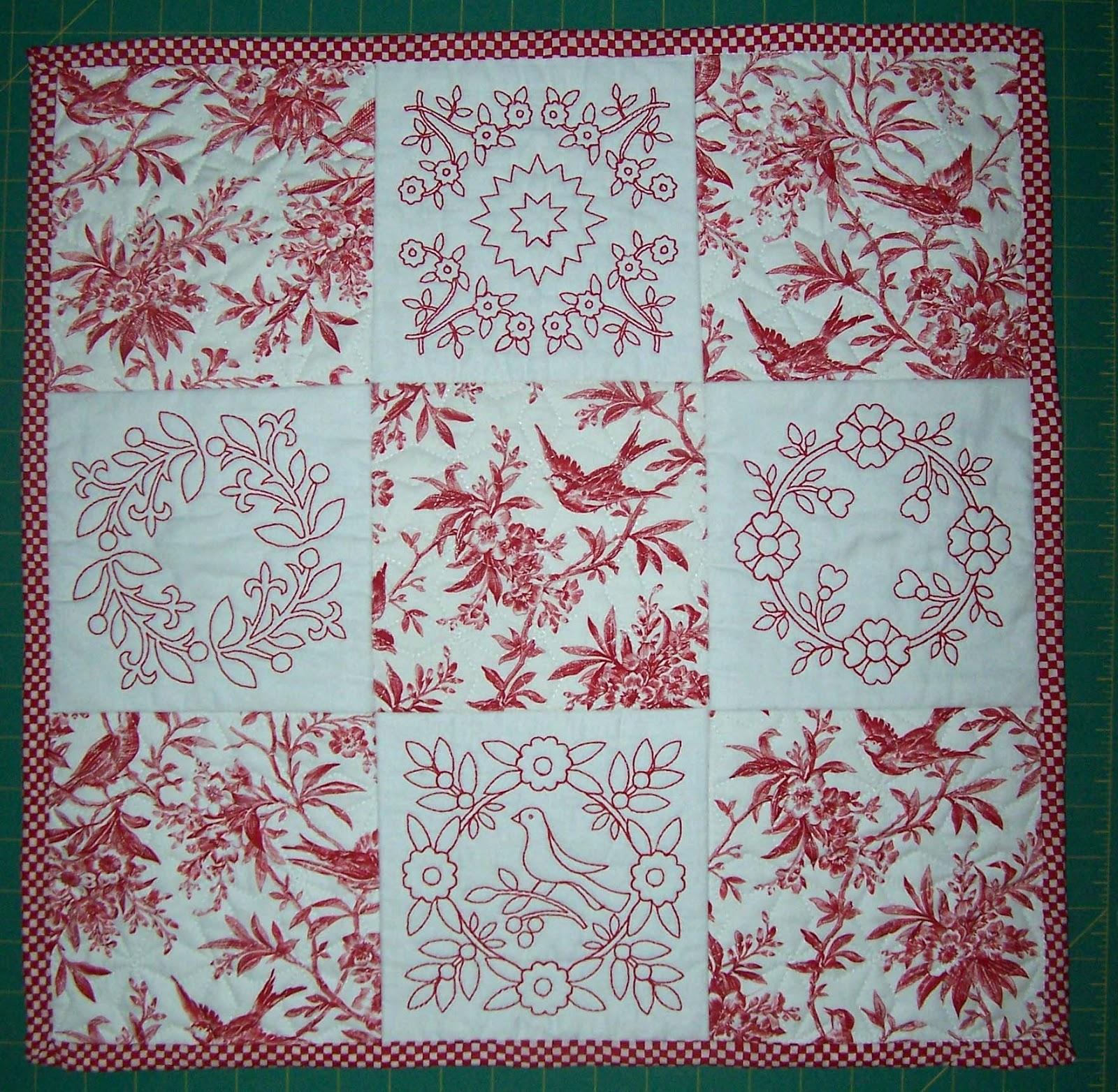 Redwork Quilting Patterns : Treasures-n-Textures: Mini-Redwork Quilt