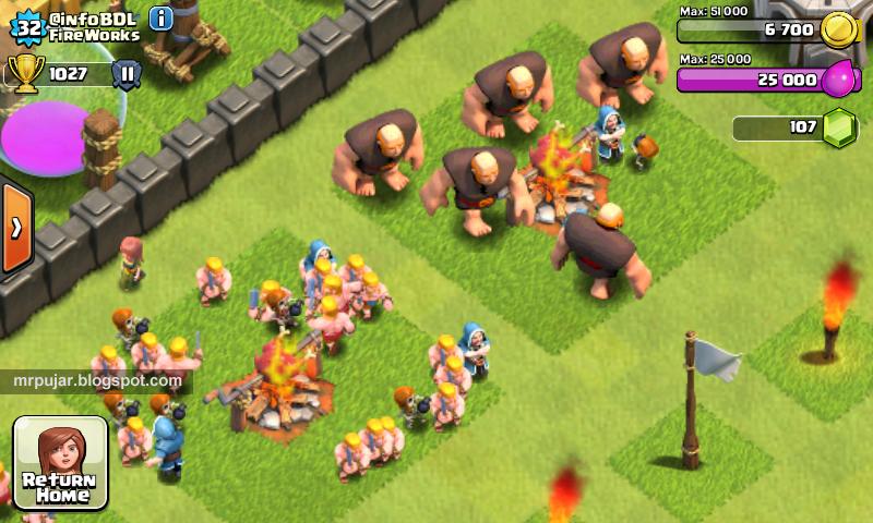 pasukan sedang makan di game clash of clans