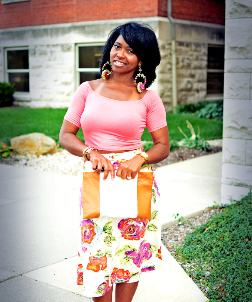 How to style a floral skirt with a crop top.