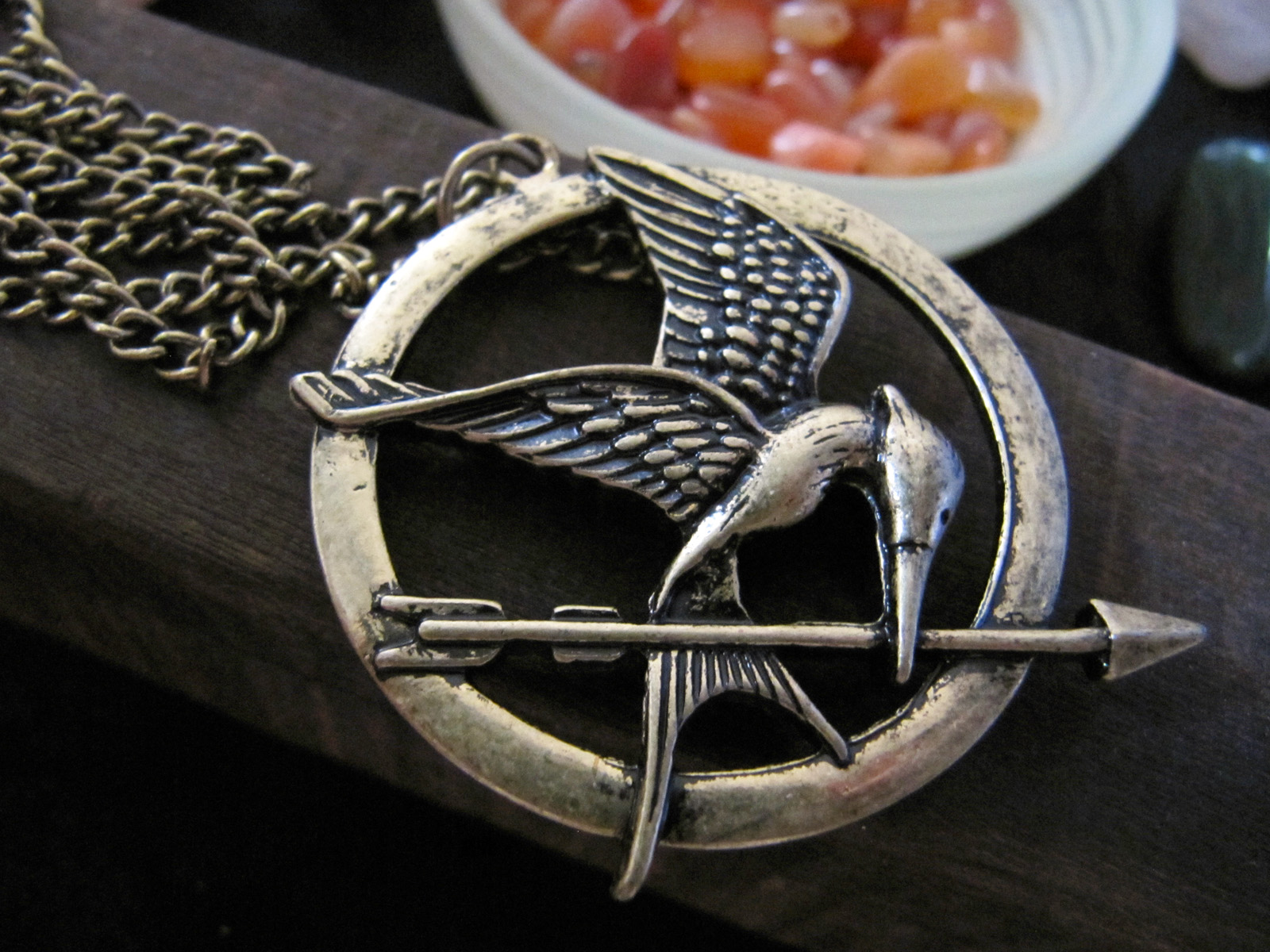 Moonfire charms the hunger games mockingjay medallion necklace the hunger games mockingjay medallion necklace in gold and bronze aloadofball Images