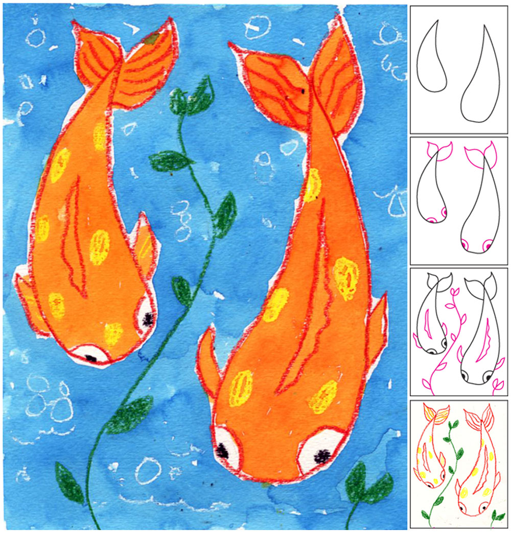 Koi fish painting art projects for kids for Japanese fish painting