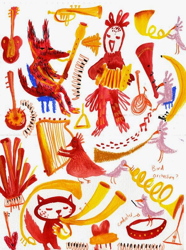 red and yellow illustration of an animal orchestra artwork by  Adam Pryce