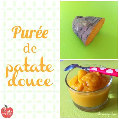 La patate douce en purée recette d'hiver au goût sucré pour les bébés à partir de 6 mois, recette bio de BB mange bio