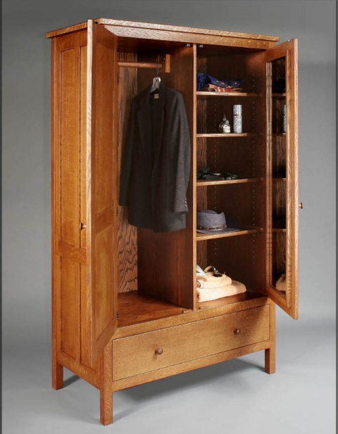 A beautiful armoire, in a simple Arts and Crafts style