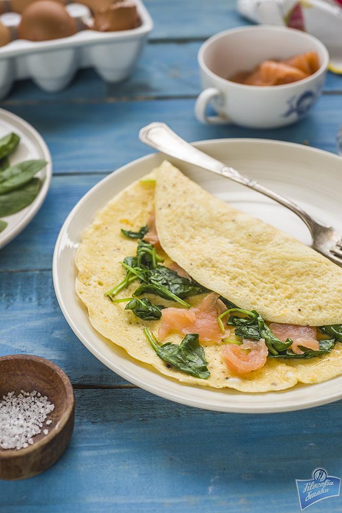 Wędzony łosoś omlet