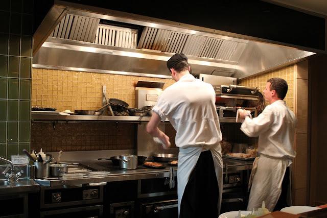 Chef's counter view at Aragosta Bar + Bistro, Boston, Mass.