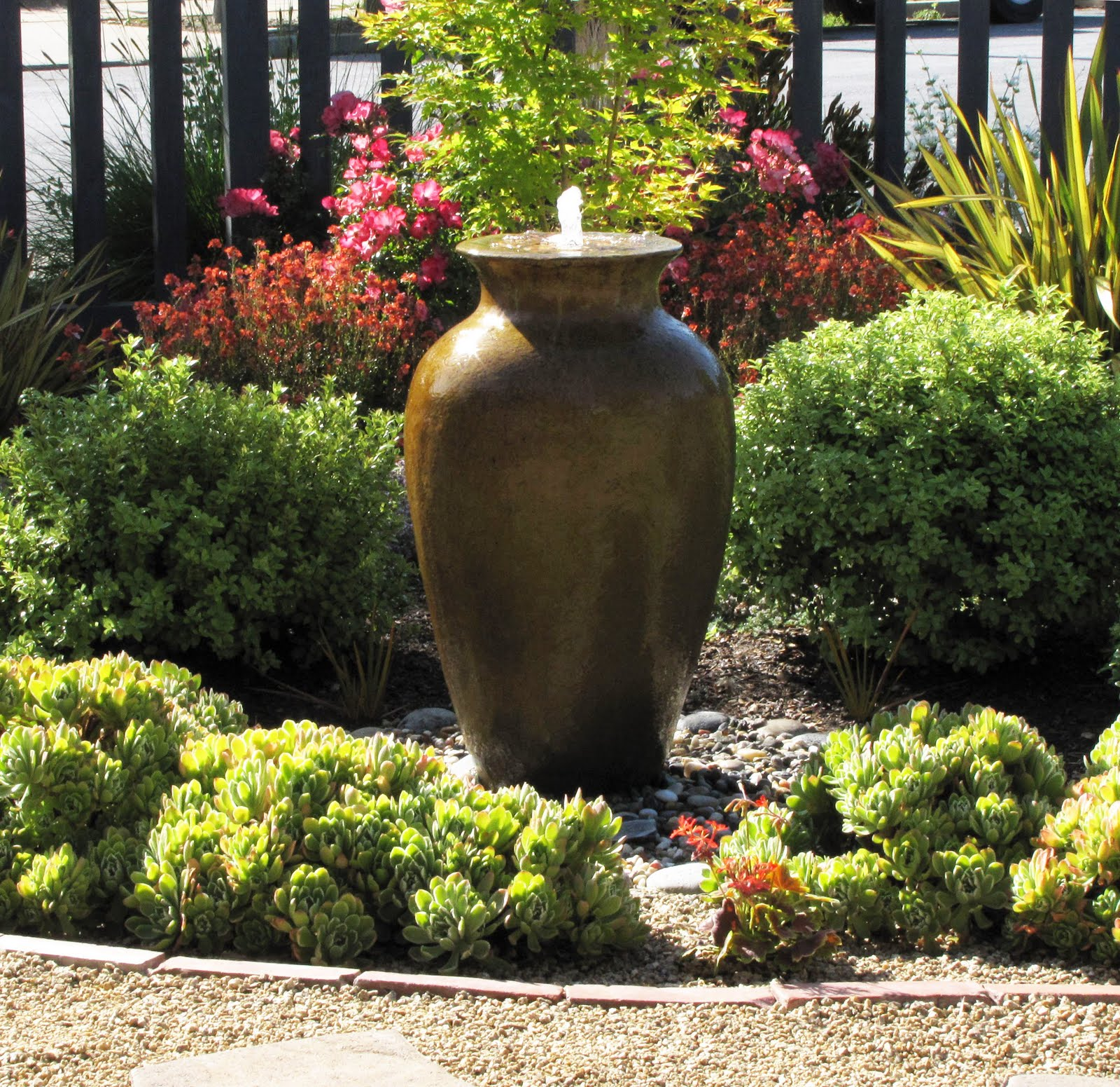 water features lawn alternative front yard fountain ForGarden Feature Ideas