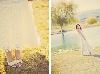 Heather:  her shoes and her wedding dress