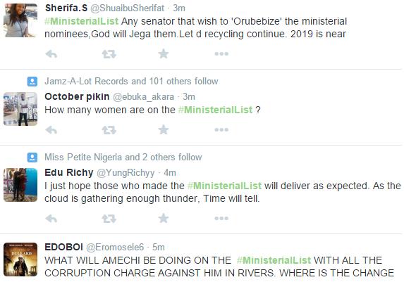 Nigeria ministerial list  -,ministerial list Nigeria =