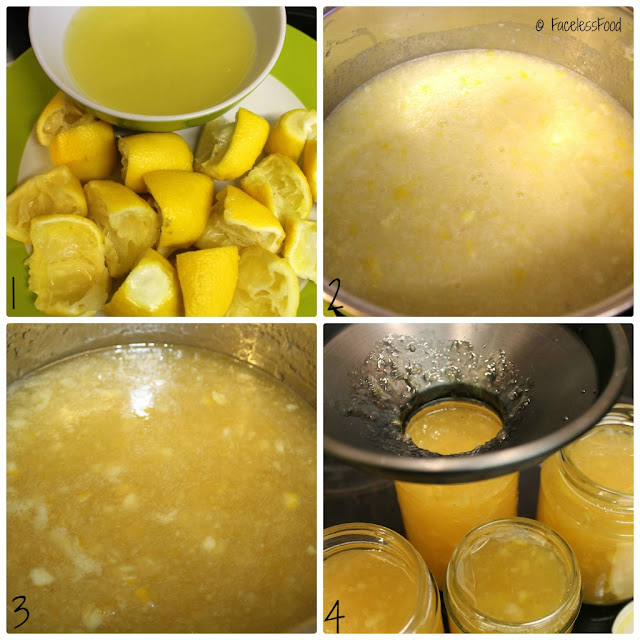 4 pictures showing the stages of making marmalade