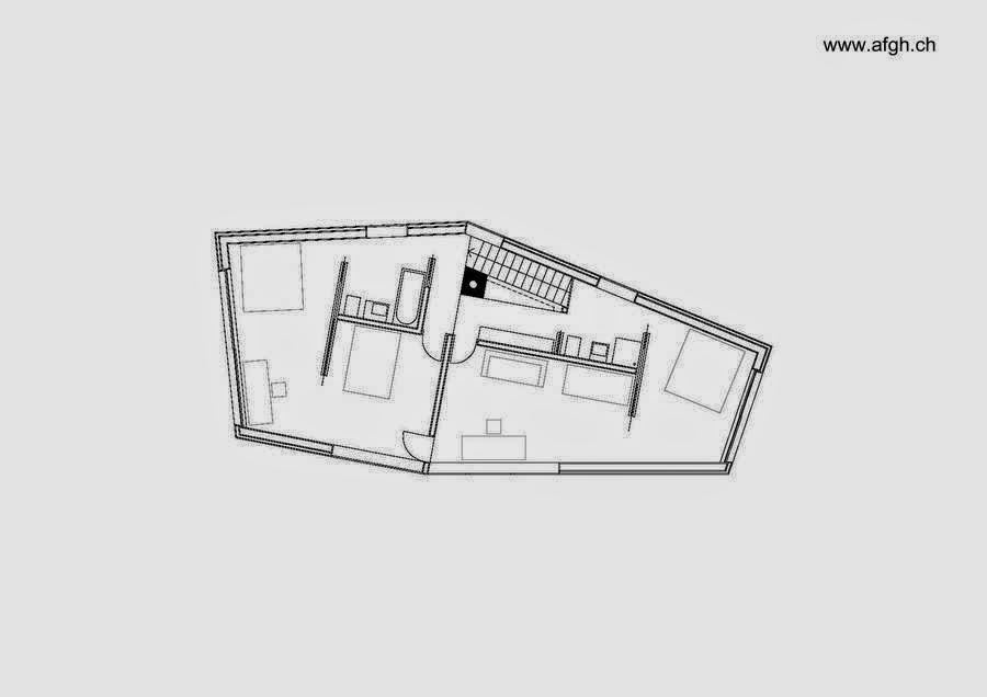 Plano de planta superior del moderno chalet suizo