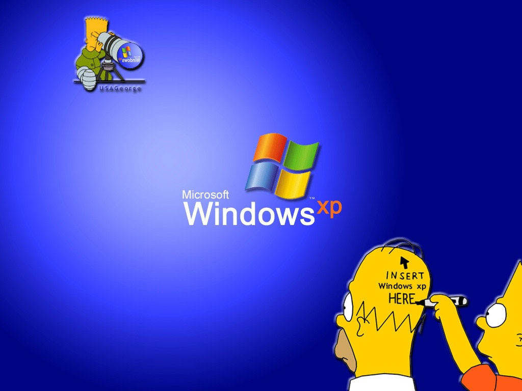 fondo de los simpsons azul con bart y homero con el logo de windows xp ...