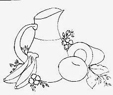 desenho  de jarra com abacate, maça e bananas