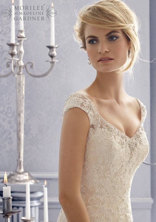 Mori Lee 2672 V Neck Mermaid Wedding Dress Embroidery Net Bridal Gown Crystal Beading