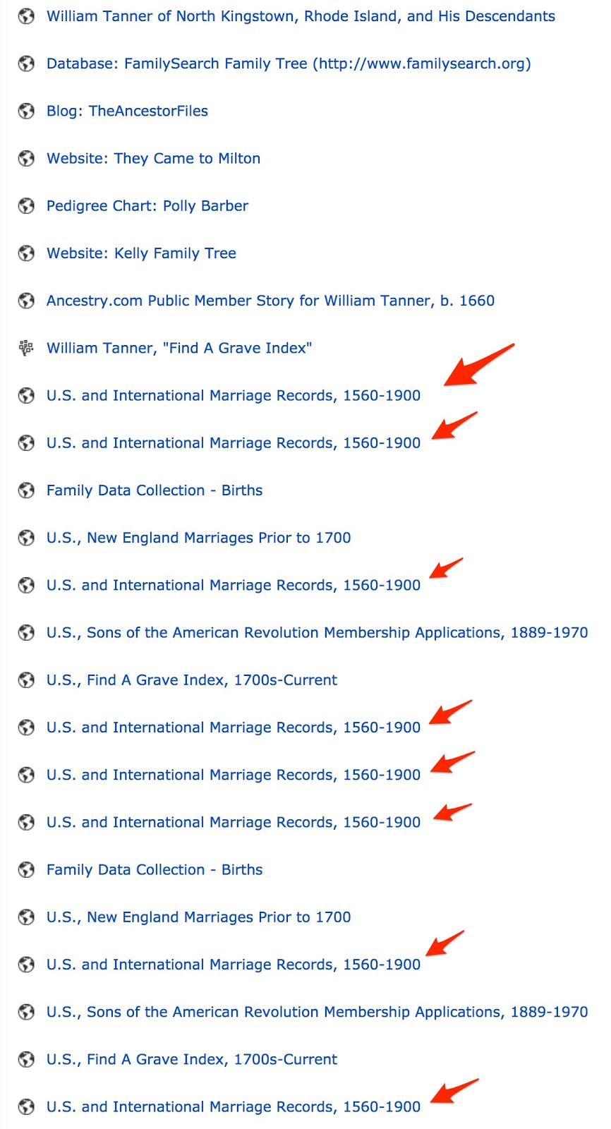 how to stop ancestry showing duplicate search entries