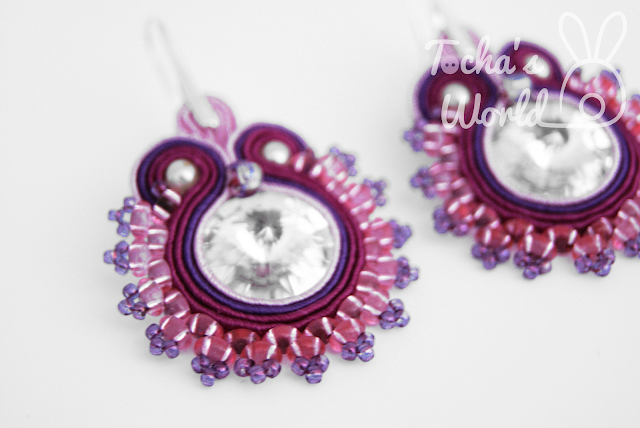 soutache earrings, soutache jewellery, beaded earrings, Tocha's World