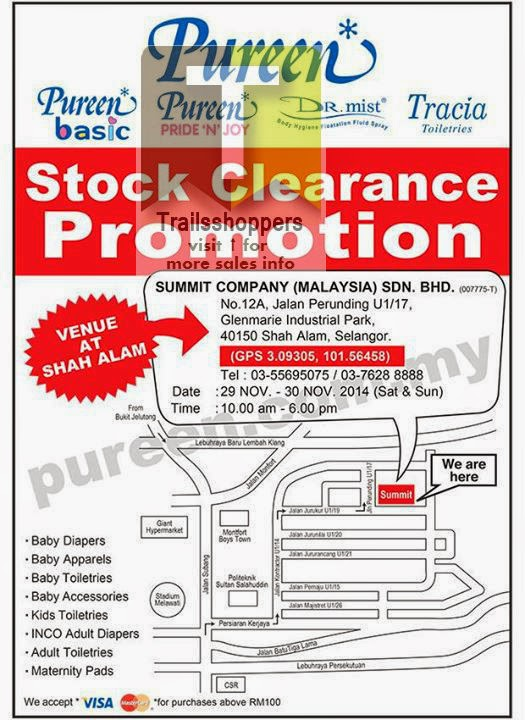 Pureen Stock Clearance Promotion 2014. shah alam seksyen map