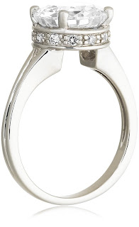 """100 Facets Collection"" Solitaire Cubic Zirconia Ring"