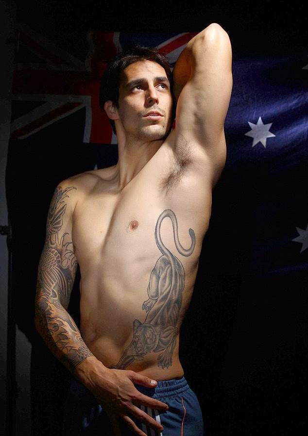 Daily cricket news top 5 cricketers with body tattoos the fast bowler has got himself tattooed with japanese style koi on his right arm and has covered his left torso with a cat having an unfriendly look gumiabroncs Gallery