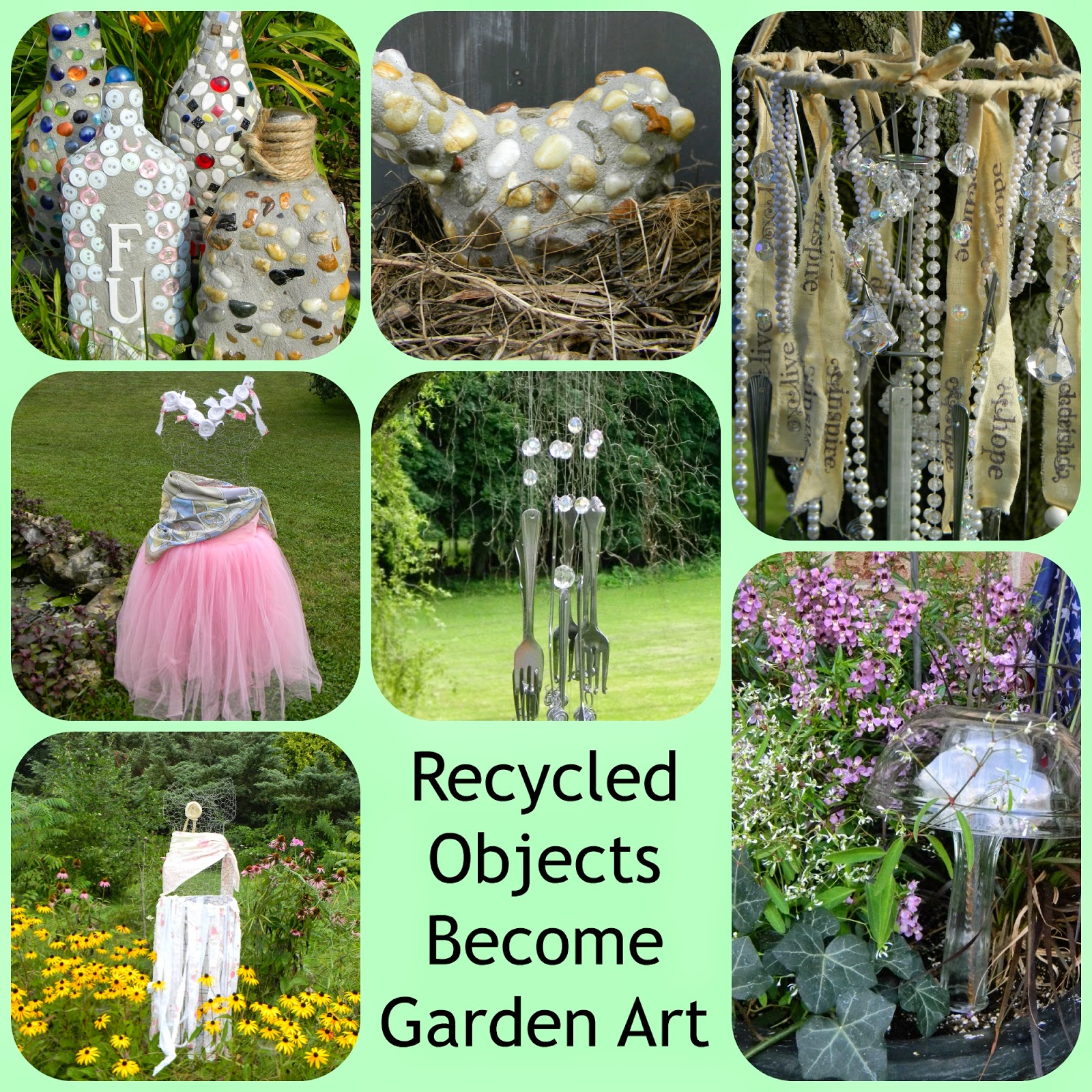 Artistic endeavors 101 recycled materials become garden decor for Garden decorations from recycled materials