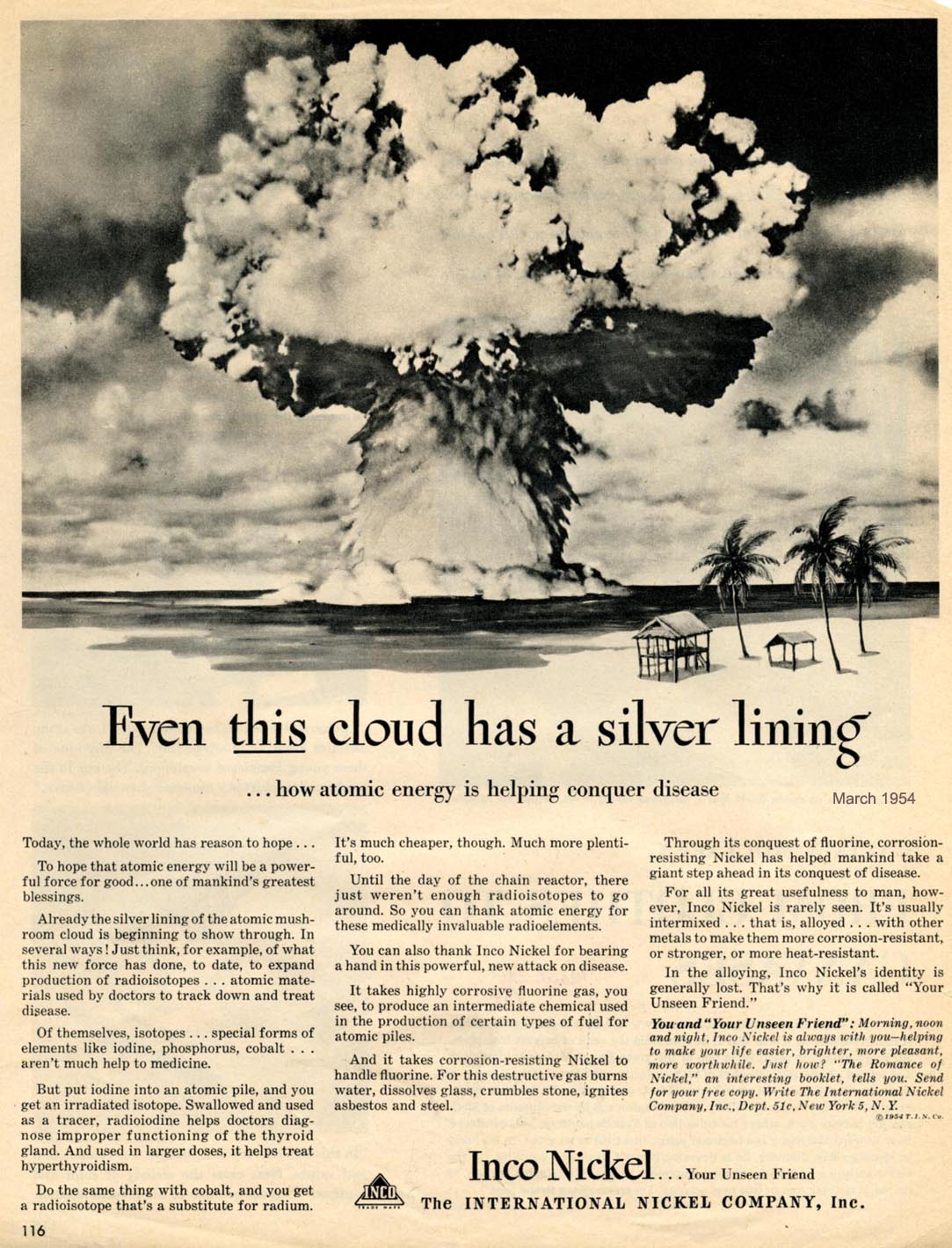 The Visual Primer Of Advertising Cliches Even This Cloud Has A Exploded Lighting Diagrams Prudential Industrial Labels 1954 Atom Bomb Cold War Desert Island Explosions Health Inco Nickel Plating For Cars Medical Palm Trees