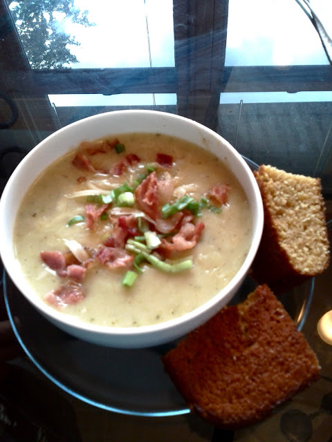 Cheesy Green Chile And Potato Chowder With Buttermilk Cornbread