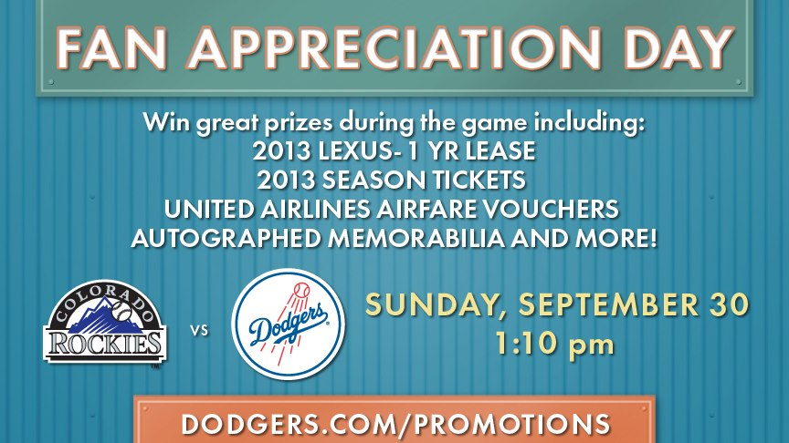 Dodgers fan appreciation day prizes for students