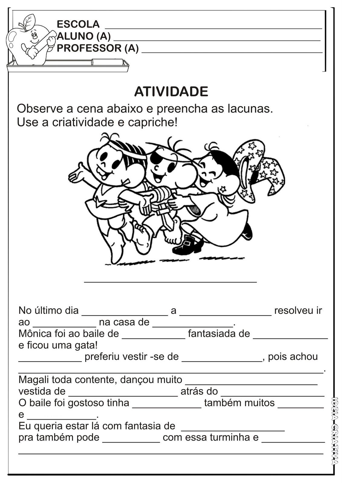 Atividade Texto Lacunado / Temática Carnaval 2º ano