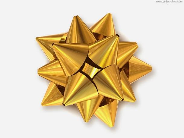Golden Bow Decoration PSD