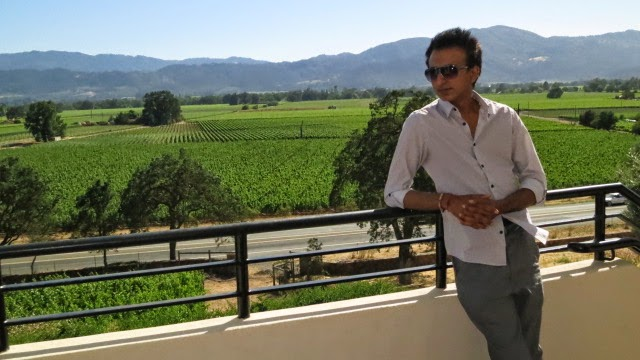 Model photoshoot overlooking vineyards