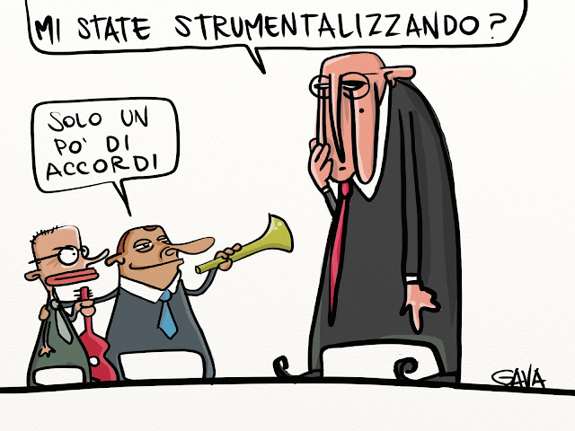 gava gavavenezia satira vignette caricatura napolitano letta berlusconi tromba chitarra