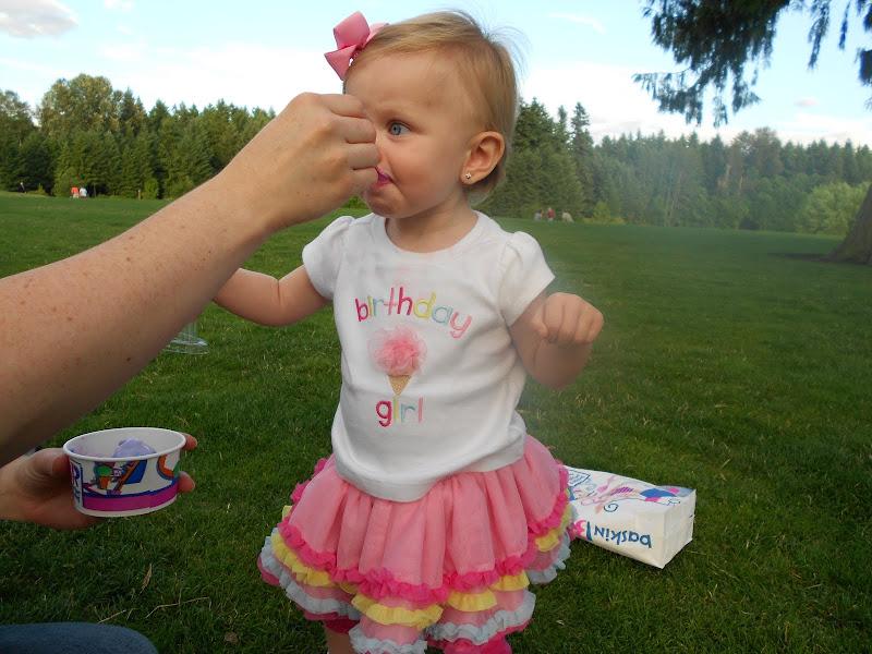 Enjoying that birthday ice cream. Cotton candy.Yum! title=