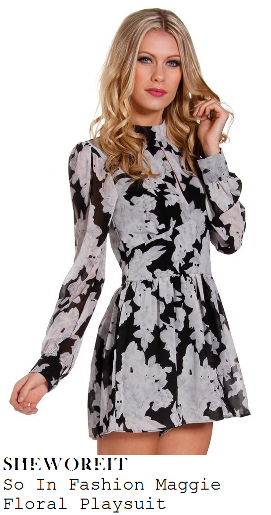 jessica-wright-black-and-white-monochrome-floral-print-long-sleeve-collared-playsuit