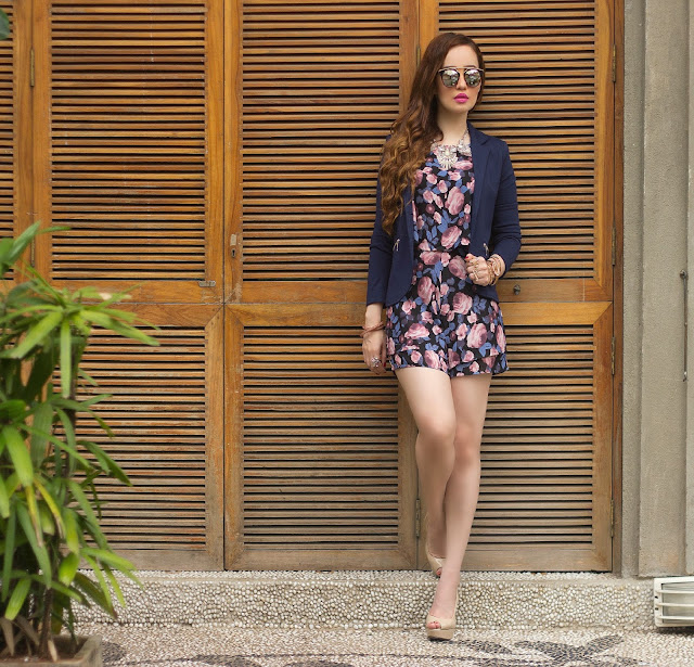 ONLY Floral Printed Playsuit, Romper, Navy Blue Blazer, Mirrored Sunglasses, Nude Heels