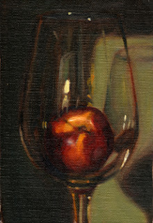 Oil painting of a yellow nectarine in a large wine glass.