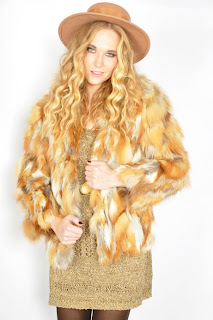 Vintage 1970's multi-colored brown shaggy fox fur bolero coat.