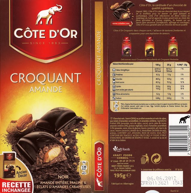 tablette de chocolat noir gourmand côte d'or croquant amande noir