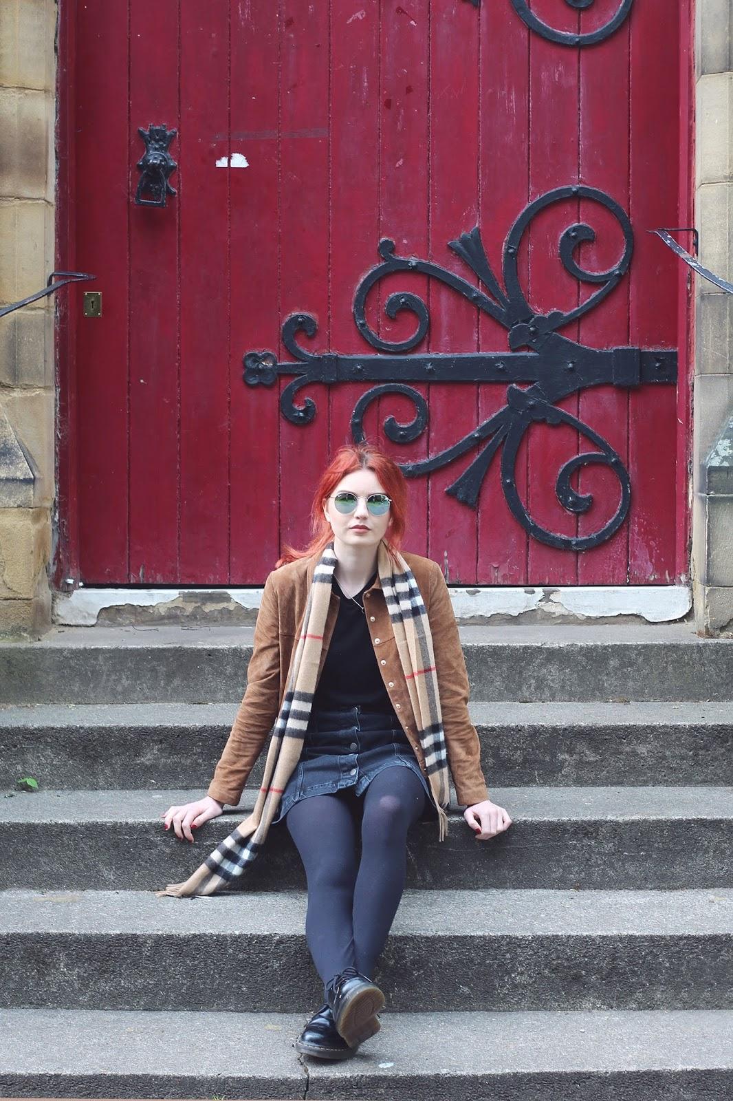 black denim skirt burberry scarf