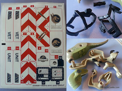 Jurassic World LEGO Raptor set 75917 stickers dino parts